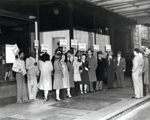 Striking Kahn's Department Store clerks prior to the Oakland General Strike.